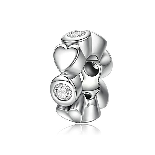 Style Daisy Spacer - The Kiss Starshine Daisies Dazzling Daisies Forget Me Not Infinity Love Pave Clear CZ Spacer 925 Sterling Silver Bead Fits European Charm Bracelet (Deep Love Heart)