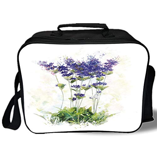 Insulated Lunch Bag,Lavender,Fresh Flowers on Stems Rural Country Inspired Digital Watercolor Art,Violet Blue Reseda Green,for Work/School/Picnic, Grey