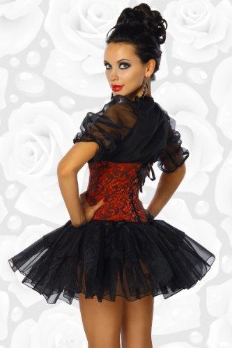 Dirndl Bluse schwarz mit transparenten Puffärmeln 12273