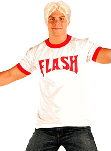 Flash Gordon Logo Red Ringer T-shirt Blonde Wig Costume Set (Adult Large)