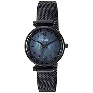 Fossil Women Mini Carlie Quartz Stainless Steel and Mesh Casual Watch Color: Black, Black (Model: ES4613)