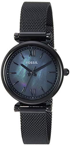 Fossil Women Mini Carlie Quartz Stainless Steel and Mesh Casual Watch Color: Black, Black (Model: ES4613) ()