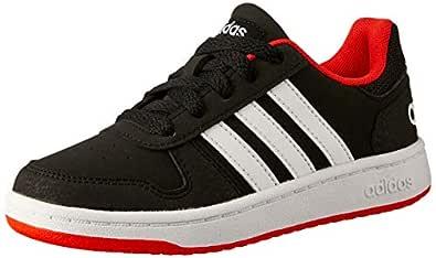 adidas Boys' Hoops 2.0 Trainers, Core Black/Footwear White/Hi-Res Red, 2.5 US