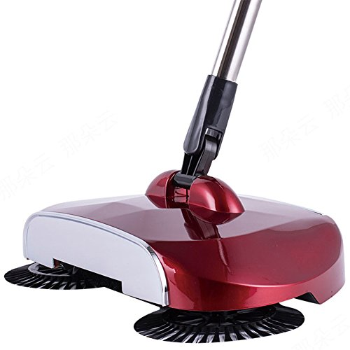 Adjustable Handle 360 Rotary Hand Push Sweeper Broom Without Electricity Home Use Manual Telescopic Floor Dust Sweeper (red)