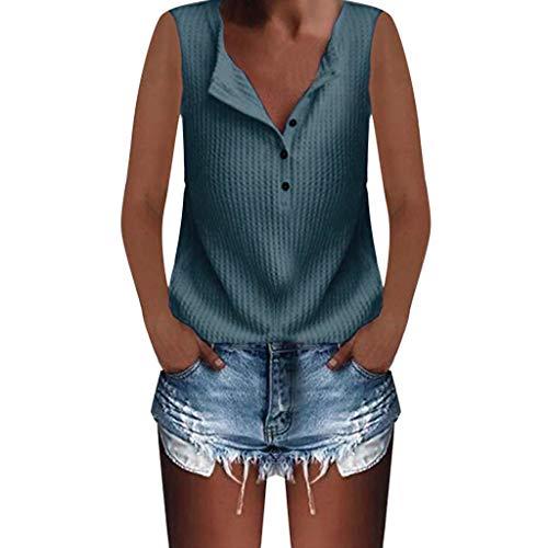 (JMETRIE Women's Casual Knit Tunic Tops Loose Sleeveless Button V Neck Shirts Loose Blouse Summer Top Blue)