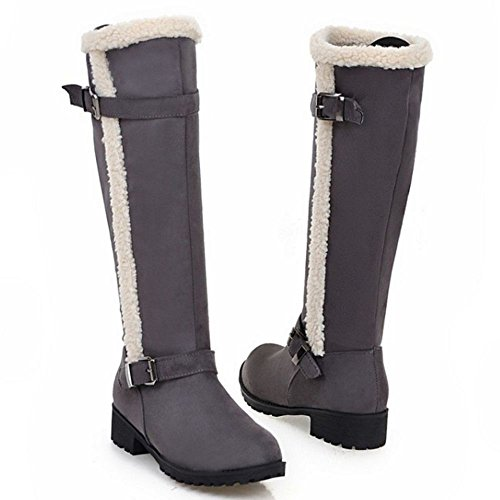 Gray Low Western Fashion Heel Women's Boots Long Block COOLCEPT w8qtft