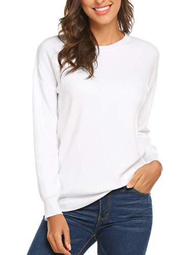 SUNAELIA Women Round Neck Long Sleeve Loose Knit Henley Shirt Top, White, XXL ()