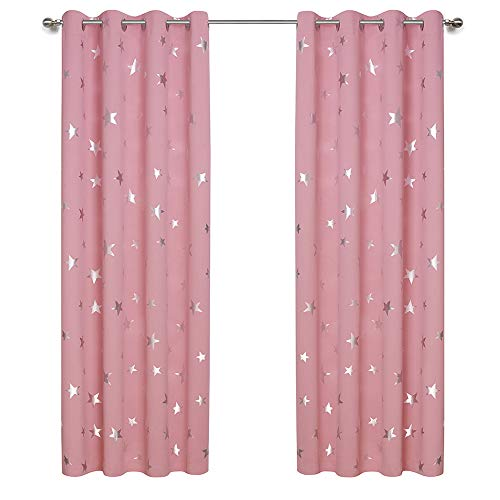 Anjee Cute Pink Blackout Curtains for Girls' Bedroom, Silver