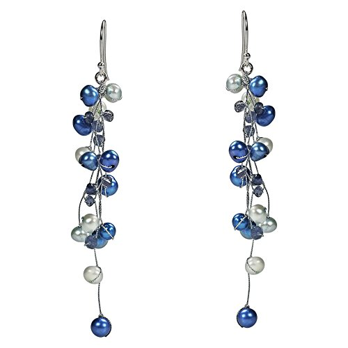 Classy Ruffles Cultured Freshwater Dyed Blue Pearl-Iolite Stone Earrings