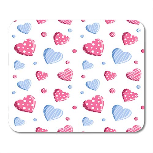 (Nakamela Mouse Pads Candy White Abstract Hearts in Blue and Pink Colors Valentine's Day Beads Celebration Mouse mats 9.5