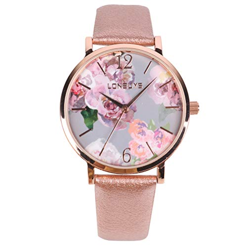 LONBUYS Business Analogous Casual Watches Flower Printed Dial Quartz Waterproof Wrist Watch IP Rose Gold Leather Band for Girl Women (Watch Girls Gold)