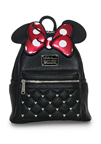 Loungefly Disney Minnie Mouse Bow Faux Leather Womens Double Strap Shoulder Bag Purse