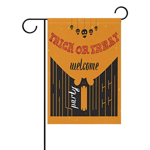 SUABO 28x40 inch Garden Flag Halloween Double Sided House Yard Flag Welcome to Halloween Party Printed -
