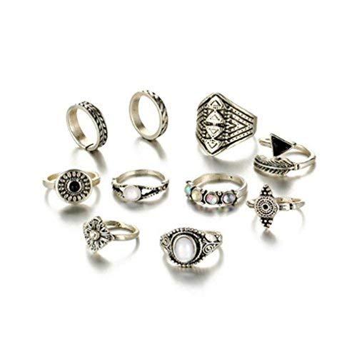 Iumer 10Pcs Vintage Steampunk Cross Moon Midi Finger Knuckle Rings Set Silver