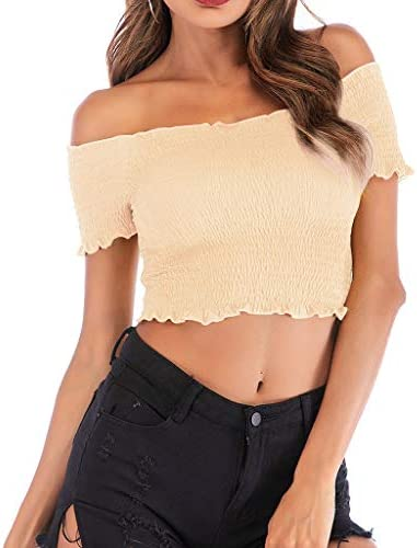 女性のしわストラップレス半袖トップスカジュアルカジュアルフリルタイツツイストショートTシャツ (ベージュ, XL)