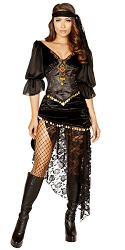 Musotica Sexy Esmeralda Sinful Gypsy Outfit with Accessories - Black - Small