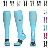 NEWZILL Compression Socks (20-30mmHg) for Men & Women - BEST Stockings for Running, Medical, Athletic, Edema, Diabetic, Varicose Veins, Travel, Pregnancy, Shin Splints. Carolina Blue - Medium (1 pair)