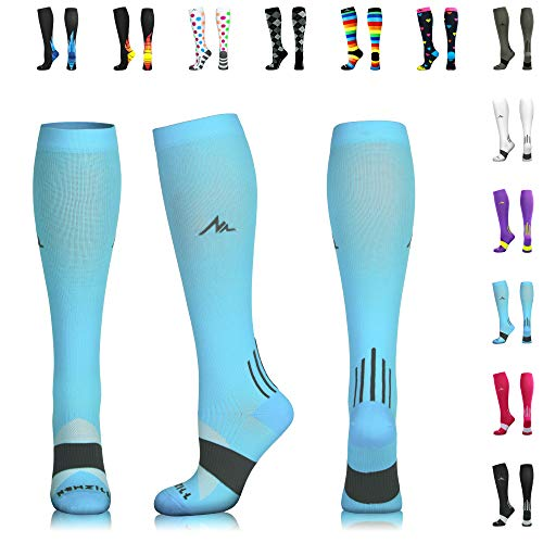 -     NEWZILL Men & Women's Compression Socks for Athletic, Nurses, Shin Splints, Maternity & Flight Travel, Carolina Blue - Small (1 pair)