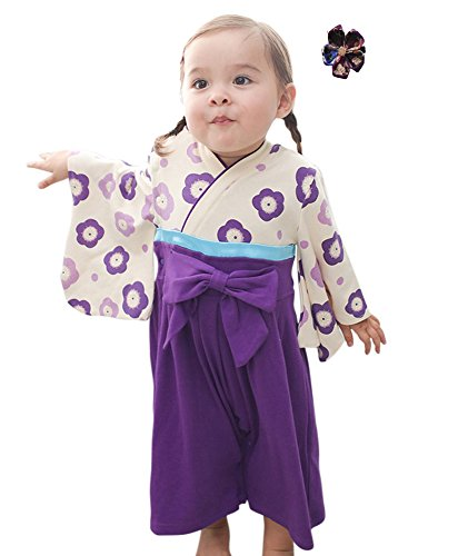FANCYBABY Japanese Girls Toddler Kimono Dress Robe Outfit Costume with Hair Clip (9 to 12 Months, Purple)