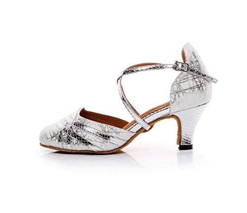 Salsa Closed Chaussures Tango Salle Dance Latin EU35 5cm UK4 De Danse heeled7 Chaussures Toe Lady Our36 Femmes Bal JSHOE Silver Pour xY75wp1q0