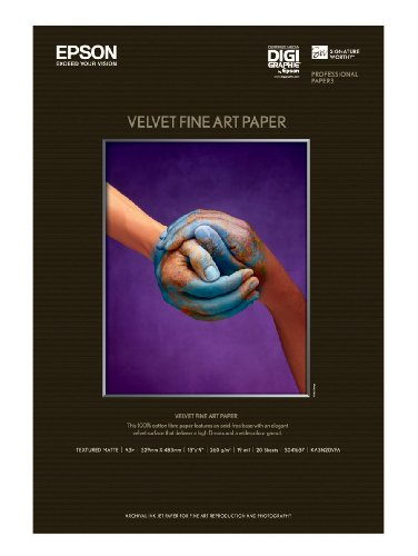 Price comparison product image Epson Velvet Fine Art Paper (13x19 Inches, 20 Sheets) (S041637)