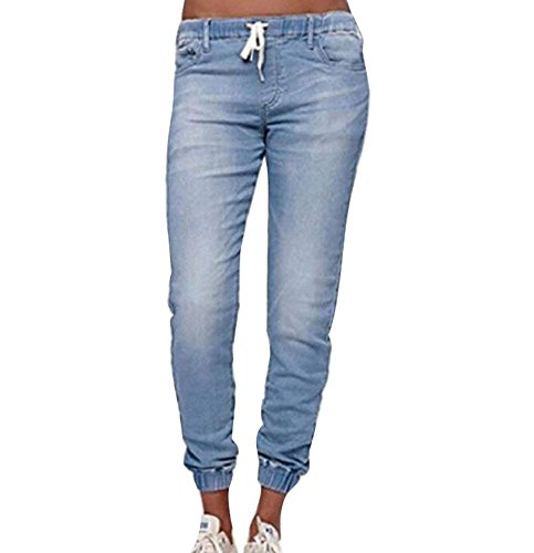 de Cintura Cintura Claro Bolsillos de de keephen con Cordón Elástica Algodón Pantalones del Azul la Linterna Pantalones Dril 8IUnIRT