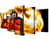 JOLOMOY Wall Art Painting 5 Panels Canvas Prints, Oil Painting Printed on Canvas - Ice Wine Drink Giclee Canvas Paintings Artwork Pictures Posters Home Decor Unframed (Large)
