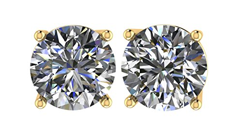 NANA 14k Gold Post & Sterling Silver 4 Prong CZ Stud Earrings -Yellow Plated-8.0mm-4.00cttw ()