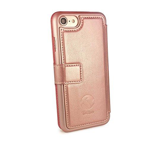 Tuff-Luv Geldbeutel -Dame Slim Case für Apple iPhone 7 in Leder mit einem Rasierspiegel - Rose Gold