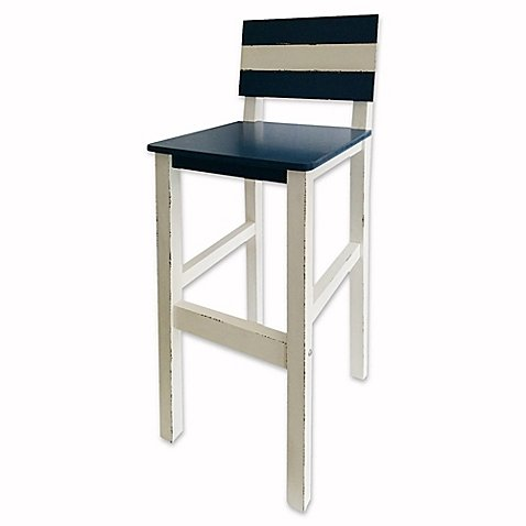 Coastal Bar Stool in Blue/White