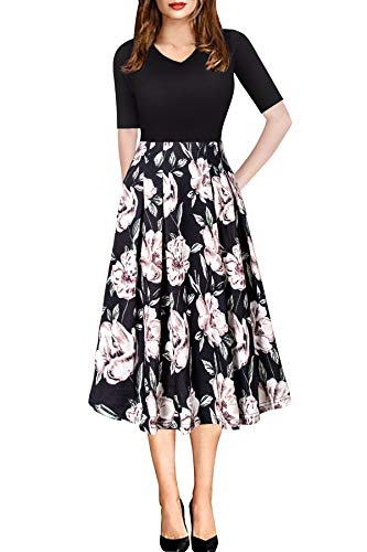 Woman Casual Summer Knee Length Dress with Sleeve Pocket Floral Print Vintage Work Dress Black S