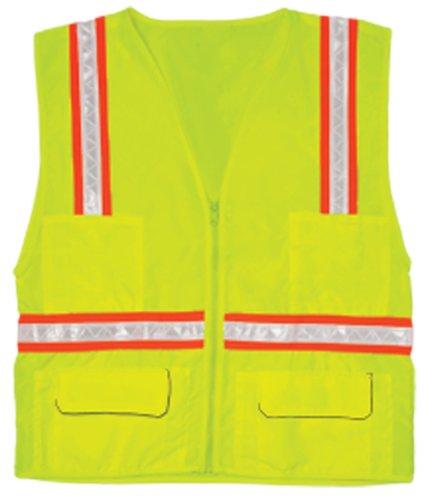 - ML Kishigo 1092 Polyester Economy Multi-Pocket Surveyors Vest, Large, Lime