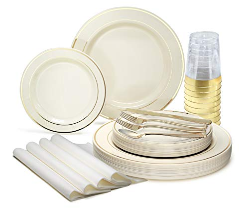 """"""" OCCASIONS """" 200Piece set (25 Guests)-Heavyweight Wedding Party Disposable Plastic Plate Set -25 x 10.5"""" + 25 x 7.5"""" + Silverware + Cups +linen like paper Napkins (Ivory & Gold Rim)"""