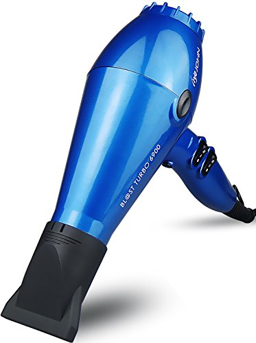 JOHN Blast 6900 Tourmaline Ceramic Ionic Professional Hair Dryer 2200W Powerful Fast Drying Blow Dryer 9Ft Cable AC Motor with 2 Nozzles for Salon Styling Glossy Blue ()