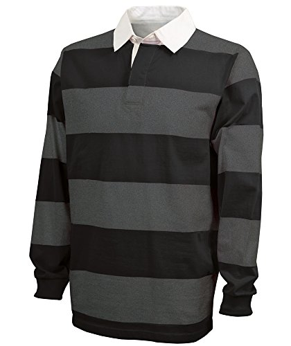 Charles River Apparel Adult's Classic Rugby Shirt, Black/Grey L ()