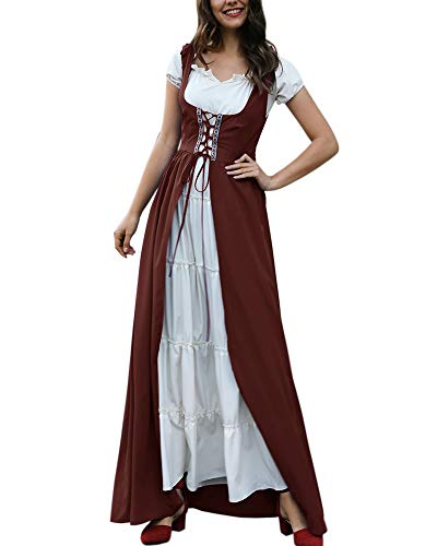 Renaissance Costume Medieval Dress Lace Up Vintage Victorian Gothic Cosplay -