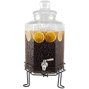Redfern Elegant 2.5 Gallon Glass Beverage Dispenser with Stainless Steel Spigot and Metal Stand - Cracked Ice Design Drink Dispenser