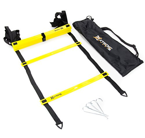 Premium Agility Speed Ladder - 13' Long with 12 Adjustable Rungs, Ideal for Soccer/Football, Basketball, Hockey, Speed Training, Kids, Coaches and All Sports. Convenient Carry/Storage Bag Included. by Xtreme Sport DV