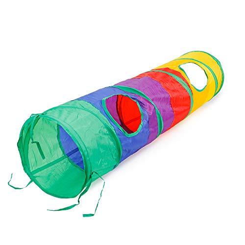 Longhui Katze Tunnel, Buntes Regenbogen-faltbares Kätzchen 2 Löcher Spielen Sie Tubes mit Ball Haustier Spielzeug