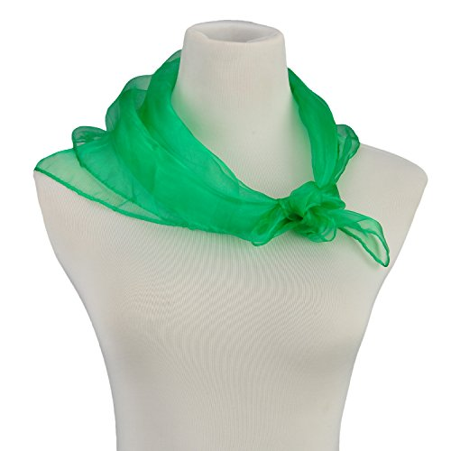 HERRICO Brightly Coloured Flowing Fun Small Scarf Decorate Extremely Light Deep Green (Multi Coloured Scarf)