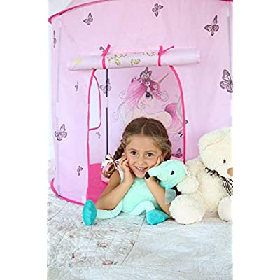 Play Tent for Kids, Pink Unicorns Pop-Up Castle Style Princess Playhouse for Indoor-Outdoor Inspiring Imaginations and Creativity, Dress Up Pretend Fun Toys for Toddlers Girl |Unicorn Gifts for Girls: Toys & Games