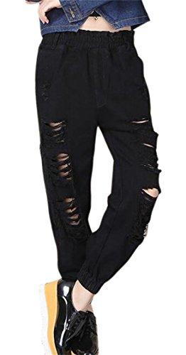 FLCH+YIGE Women's Harem Hipster Mid Waist Hole Ankle Length Jean Jogger Pants Black S