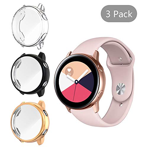 [3 Pack] LittleForest Cases Compatible for Samsung Galaxy Watch Active Case, Full Body Protection TPU Anti-Scratch Cover for Samsung Watch Active 40mm- [Black+Clear+Rose Gold]