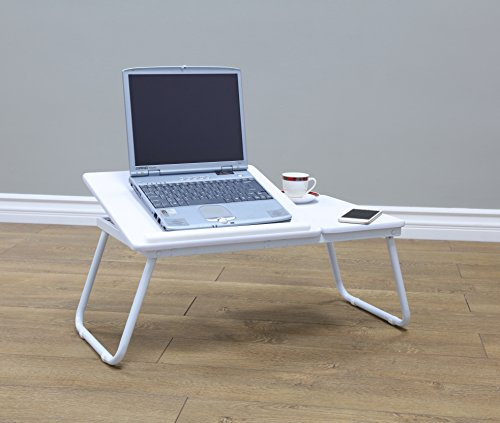 Frenchi Home Furnishing Large Size Portable Laptop Desk Stand Foldable Legs, White
