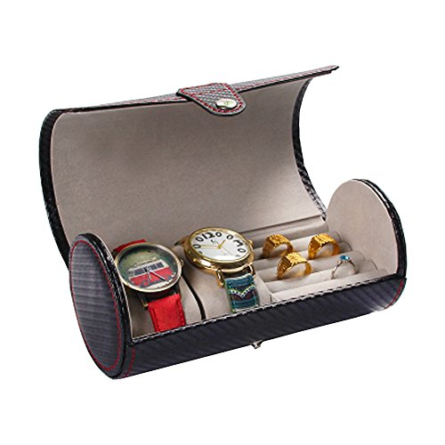 Aco&bebe House Travel Jewelry Box Organizer - Cylinder Watches & Rings & Sunglasses Holder Case (Watches/Rings Holder Carbon - Carbon Case Fiber Sunglass