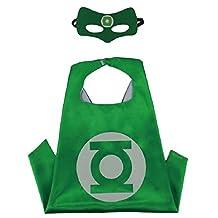 Superhero Cape & MASK Set Kids Childrens Halloween Costume Green Lantern