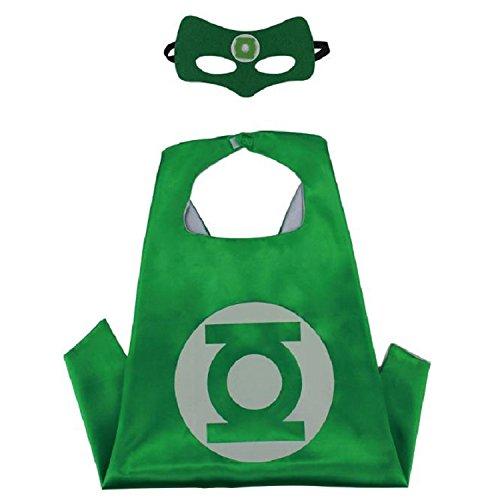Best Green Lantern Costume (Superhero CAPE & MASK SET Kids Childrens Halloween Costume Green Lantern)