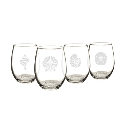 Cathy's Concepts Seashell Stemless Wine Glasses (Set of 4)