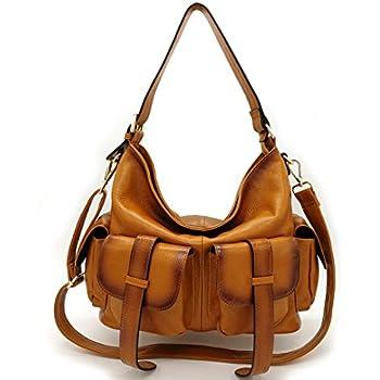 49bd088a6559 La Poet Women s Genuine Leather Large Convertible Crossbody Shoulder Hobo  Bag with Long Strap Camel
