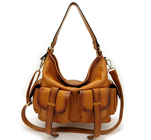 La Poet Women's Genuine Leather Convertible Crossbody Shoulder Hobo Bag with Long Strap by La Poet